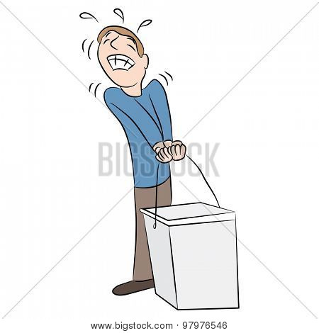 An image of a cartoon man trying to lift a heavy container of cat litter.