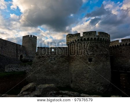 Dramatic clouds over Kalemegdan fortress at sunset in Belgrade