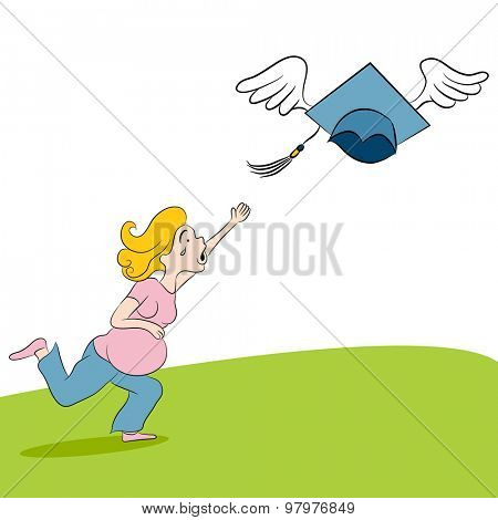 An image of a cartoon pregnant girl chasing her dream for further education.