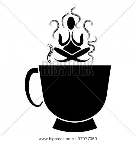 An image of a cup of of tea with zen Buddhism meditator.