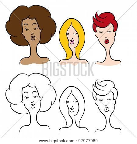 An image of cartoon women with different hairstyles.
