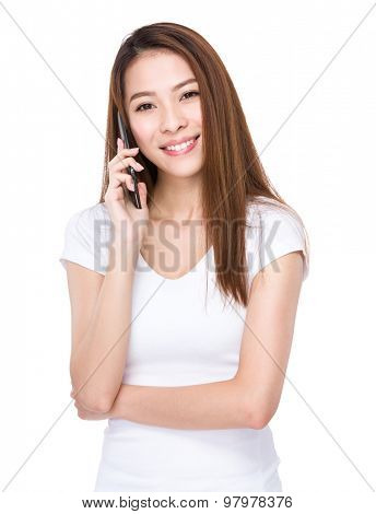 Asian woman talk to smartphone