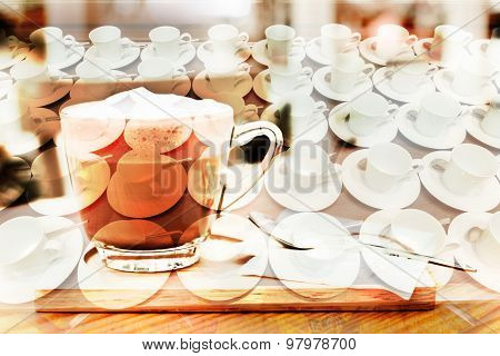 Many White Coffee Cups Are Provided Below.abstract