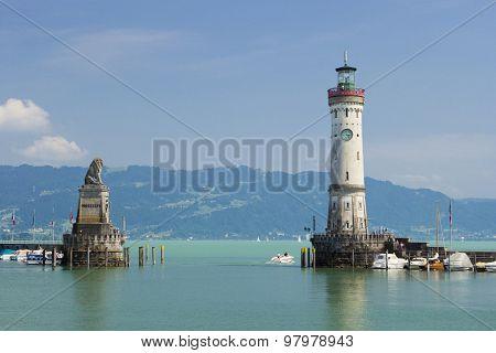 Lindau Lighthouse And Bavarian Lion