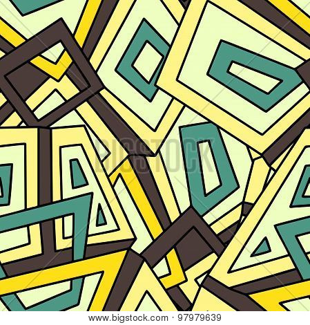 Seamless geometric pattern in in yellow and green tones. Khaki. Seamless pattern, background
