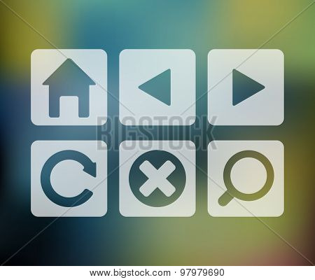 Vector set of browser icons on abstract colorful mesh background, eps10