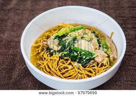 Thai Noodle On White Bowl