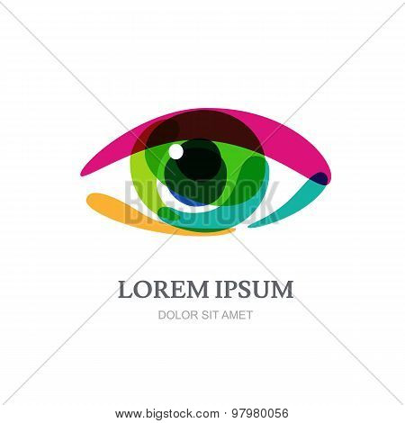 Multicolor Rainbow Eye, Abstract Vector Logo Template.