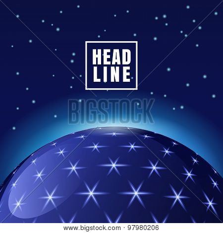 Abstract Vector Futuristic Space Background, Sphere With Shining Stars.