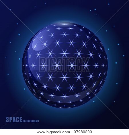 Abstract Vector Blue Sphere With Shining Stars, Futuristic Background.
