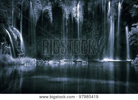 Beautiful waterfalls at Plitvice Lakes National Park , UNESCO World Heritage Center. Artistic toned retro style photo