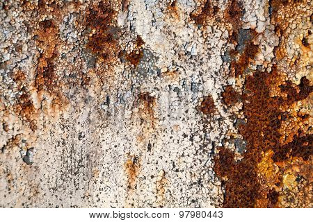 Grunge retro rusty metal with peeling paint close up photo , great texture,background or design element  for your projects