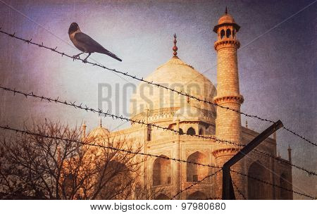 Taj Mahal behind barbed wire