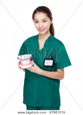 Dentist hold with plastic denture for showing other