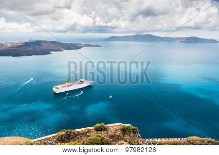 Cruise Liner At The Sea Near The Islands