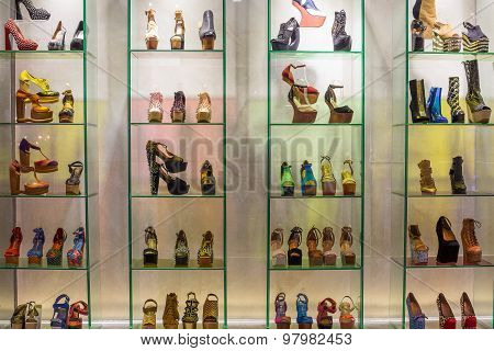 Lot Women Shoes Brand Name - Jeffrey Campbell Shoes On A Glass Shelf At The Siam Paragon Mall.  Bang