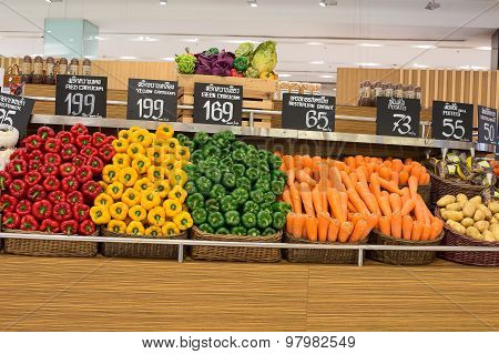 Selection Vegetables In A Supermarket Siam Paragon In Bangkok, Thailand.