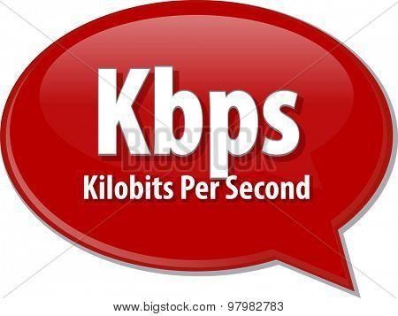 Speech bubble illustration of information technology acronym abbreviation term definition Kbps Kilobits per second