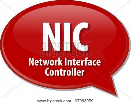 Speech bubble illustration of information technology acronym abbreviation term definition NIC Network Interface Controller