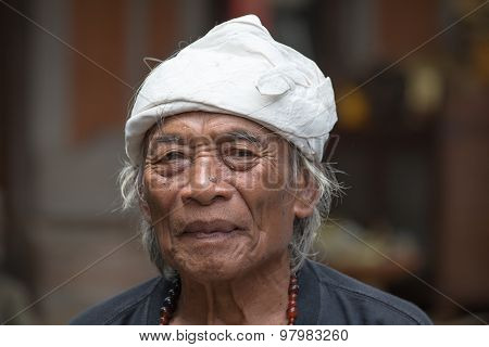 Portrait Old Man In Bali Island. Indonesia