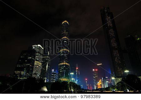 China. Office Towers At Night