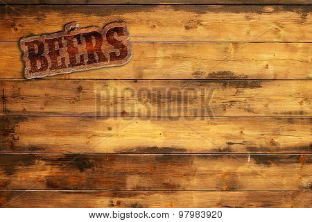 beers sign nailed to wooden board