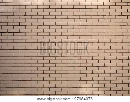 Fragment Of A Brick Wall Beige With Neat Rows Of Masonry