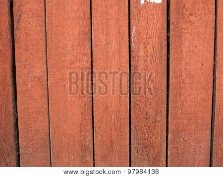 Wood Planks Closeup With Peeling Paint Red