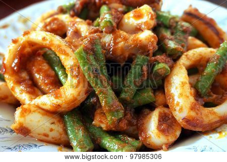 Stir Fried Squid With Roasted Chili Paste