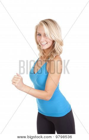 Blue Top Running Smiling