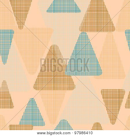 Vector abstract fabric triangles seamless pattern