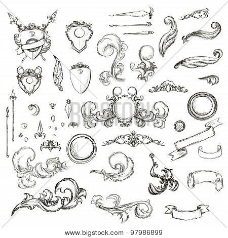 Vintage Set Decor Elements For Menu. Elegance Old Hand Drawing Set. Sketch Ornate Swirl Leaves, Labe