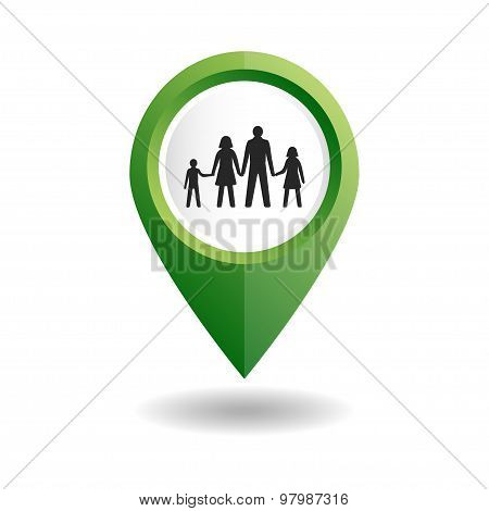 Green map pointer with a people icon. GPS location symbol with a family.