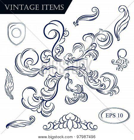 Vintage Set Decor Elements For Menu. Elegance Old Hand Drawing Set. Ornate Swirl Leaves, Label, Acan