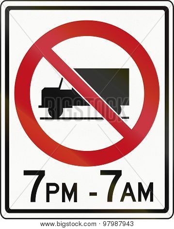 No Lorries In Specified Times In Canada
