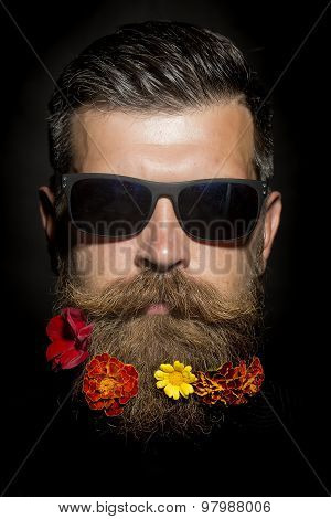 Man In Glasses With Flowers