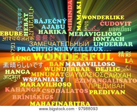 Background concept wordcloud multilanguage international many language illustration of wonderful glowing light