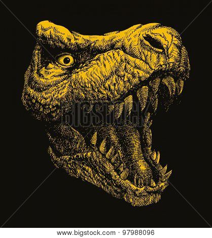 Trex. Hand drawn. Vector illustration. (one compound path, one color, easy editable)