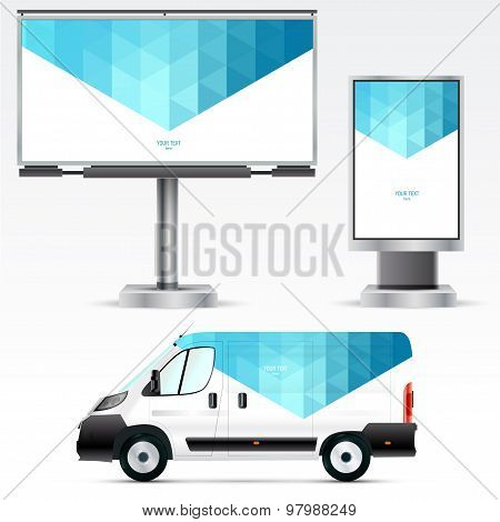 Template outdoor advertising or corporate identity on the car, billboard and citylight. For business