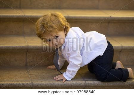 Baby Boy Crawling On Staris