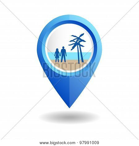 Blue map pointer with people on a beach.