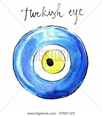 Watercolor Turkish Eye