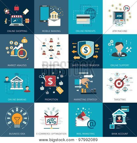 Banking marketing concept flat icons set