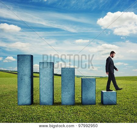 businessman in formal wear walking down the diagram at outdoor