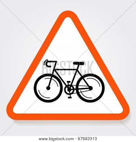 Bicycle Triangle Forbidden Sign Plate.