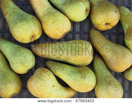 Close-up Of Ripe Pears In Box