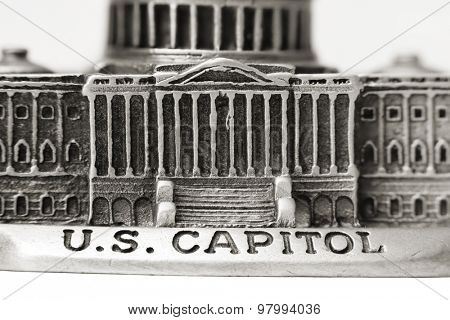 Close up shot of US Capitol die cast model created with multi image stacking