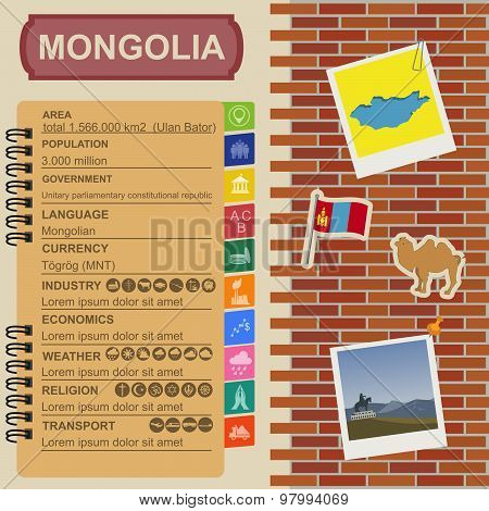 Mongolia  infographics, statistical data, sights. Vector