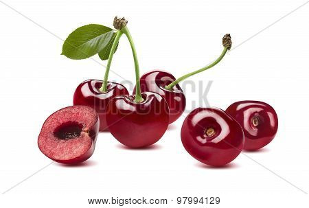 Sweet Cherry Horizontal Composition 2 Isolated On White Background
