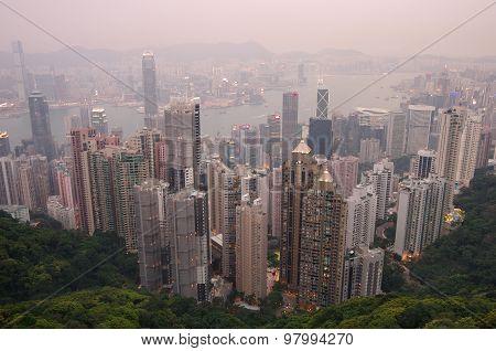 Hong Kong At Sunset